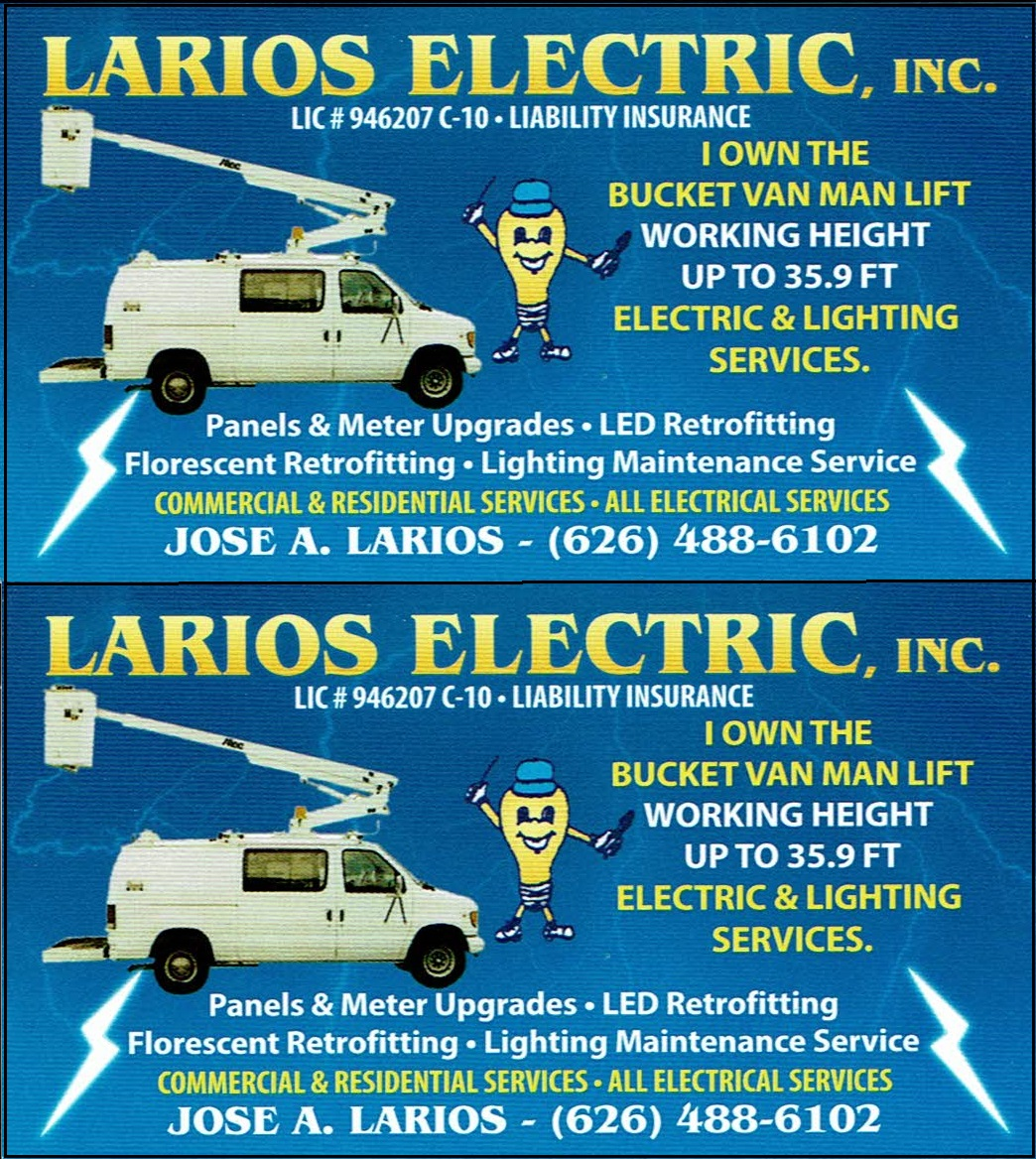 Business Card - Larios Electric Inc